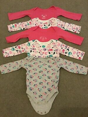 5 X Baby Girls Long Sleeved Vests Age 3-6 Months
