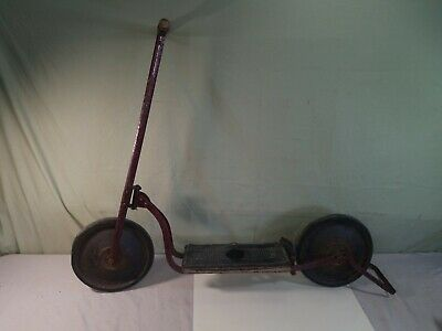 RED Push SCOOTER antique GENDRON vtg TOY man cave All Original
