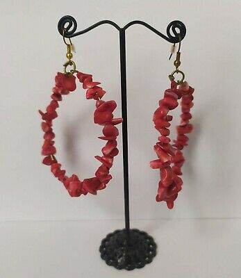 Red Handmade Hoop Earrings for Women fashion party gift Statement