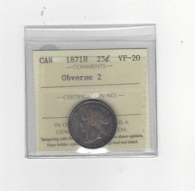 **1871H Obv.#2**, ICCS Graded Canadian, 25 Cent, **VF-20**