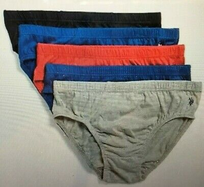 NIP US Polo Assn Mens Sz Small Low Rise Briefs Limited Ed. 5 Pack Blue Grey Red