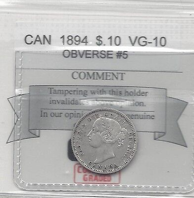 **1894, Obv.#5**, Coin Mart  Graded Canadian,  10  Cent, **VG-10**
