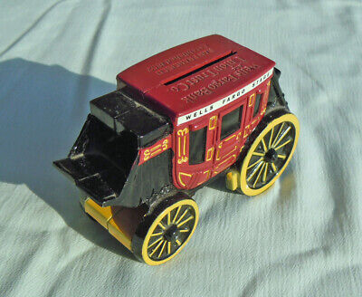 Wells Fargo Cast Metal Stagecoach Piggy Bank no key