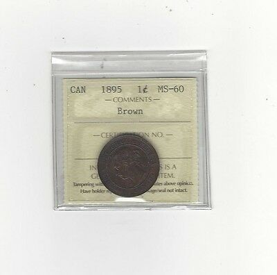 **1895**, ICCS Graded Canadian, Large One Cent, **MS-60**