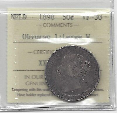 """**1898 Obv.#1 Large """"W""""**, ICCS Graded Newfoundland Silver 50 Cent, **VF-30**"""