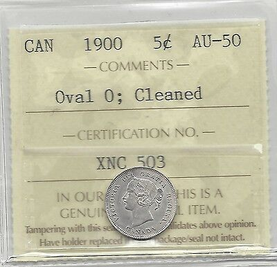 **1900 Oval 0**, ICCS Graded Canadian,  5 Cent, **AU-50 Cleaned**