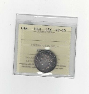 **1901** ICCS Graded Canadian, 25 Cent, **VF-30**