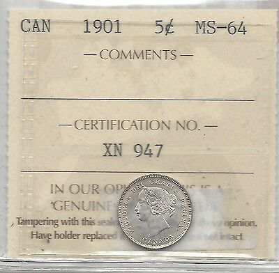 **1901**, ICCS Graded Canadian,  5 Cent, **MS-64**