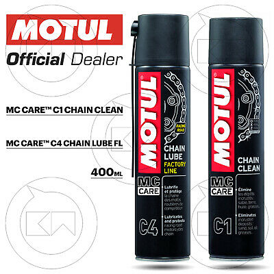 Cleaning Kit Motul Mc Care C4 Chain Lube Fl + C1 Clean Motorcycle