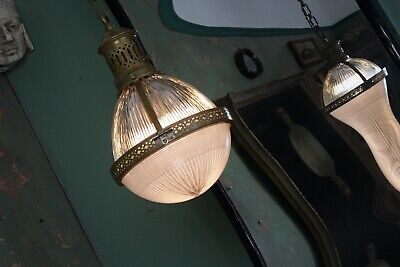 Large Early 20th Century Brass French Holophane Pendant Antique Light Lantern
