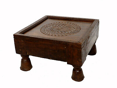 31x31 cm antik Massiv Teetisch Tisch beistelltisch Hocker side Table stool Nr:A