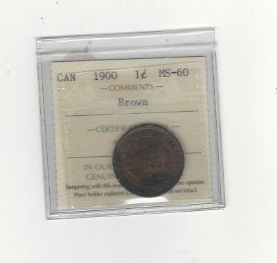 **1900**,ICCS Graded Canadian, Large One Cent, **MS-60**