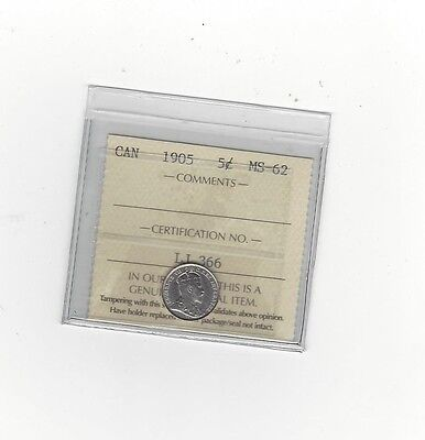**1905**, ICCS Graded Canadian,  5 Cent, **MS-62**