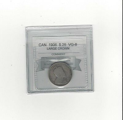 **1906 Large Crown **, Coin Mart Graded Canadian, 25 Cent, **VG-8**