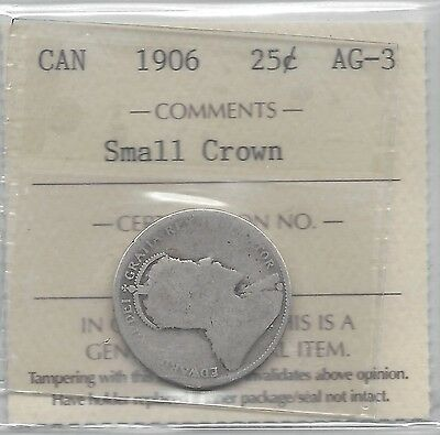 **1906 Small Crown**, ICCS Graded Canadian, Silver 25 Cent, **AG-3**
