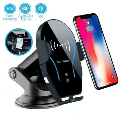 Merle kum Qi Wireless Car Charger,Smart Sensor Auto Clamping Automatic Phone Holder Fast Charging Car Mount Compatible for 4 to 6.5 Cell Phone Other Qi-Enabled Devices
