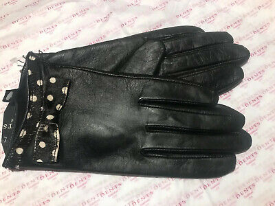 Dents Ladies Black Leather Lined Gloves Size 7.5 Large Bnwt