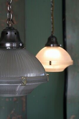 Pair Holophane Two Part Prismatic Pendant Light Antique Industrial