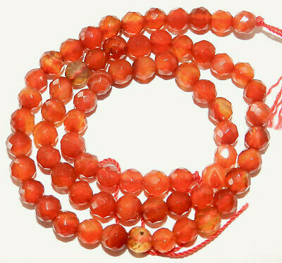 """CARNELIAN Gemstone 15 1/2"""" Strand 6mm FACETED Round Drilled BEADS ~ 68 Beads!"""