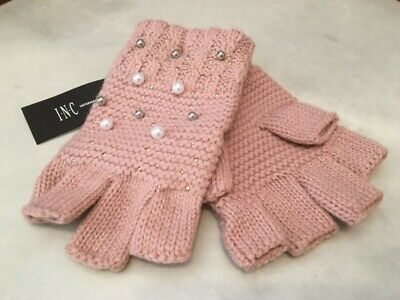 INC Pink Shine Like the Night Pearl Fingerless Texting Gloves Women's O/S NEW