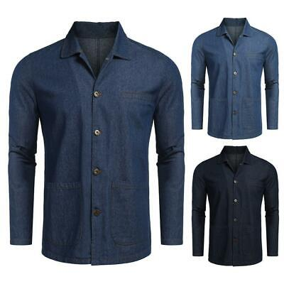 Men Fashion Turn Down Collar Long Sleeve Denim Jacket B98B 02