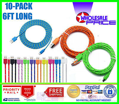 10x Wholesale Lot Micro USB Charger Charging Cable Cord For Android Cell Phone