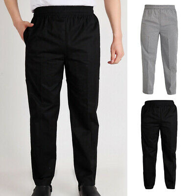 2 Pack Professional Unisex Chef Waiter Trousers Pants Kitchen Hotel Cafe Uniform