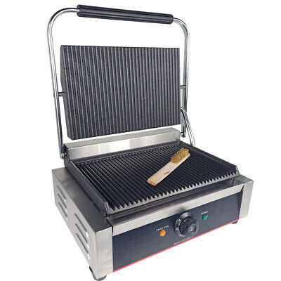 Commercial Electric Griddle Panini Press Grill Sandwich Toaster Maker Ribbed AU