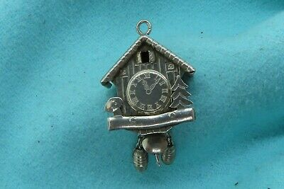 Vintage silver CUCKOO CLOCK GERMAN WOODEN PENDULUM ACORNS MOVABLE charm
