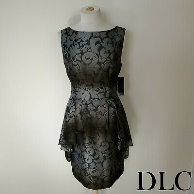 NWT Adrianna Papell Dress Womens Size 12 Silver Black Brown Sheen Cocktail Knee
