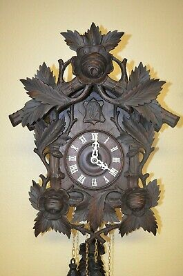 ANTIQUE GERMAN BLACK FOREST RARE LEAF AND FLOWER MOTIF CUCKOO CLOCK EARLY1900's