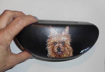 Australian Terrier Dog Eyeglass Sunglass Glasses Case Hand Painted