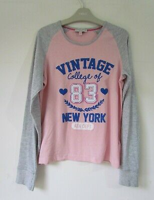 MARKS & SPENCER Girls Pink Grey Long Sleeve Top age 11-12