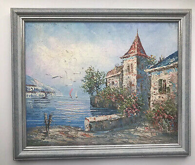 Framed Oil Painting on Canvas Sea Italy? Seaside Seascape Europe signed VGC