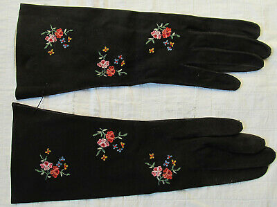 Vintage Black Leather Embroidered Gloves From France Paris Size 6 3/4