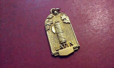 LATIN Vintage Pendant Charm Medal Gold Tone Metal Jostens & Ancient Scroll Image