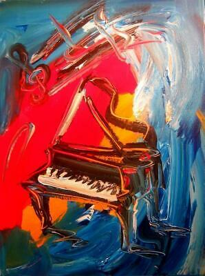 JAZZ MUSIC  PIANO by  Mark Kazav  Large Abstract Modern Original Oil Painting