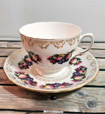 Colclough Bone China Tea Cup and Saucer with Fruit Pattern Ridgway Pottery