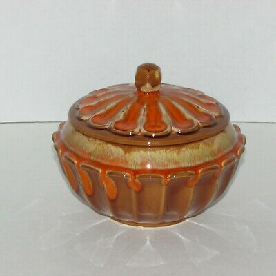 VINTAGE ART POTTERY BOWL with LID ORANGE TAN DRIP GLAZE DECORATIVE COVERED POT