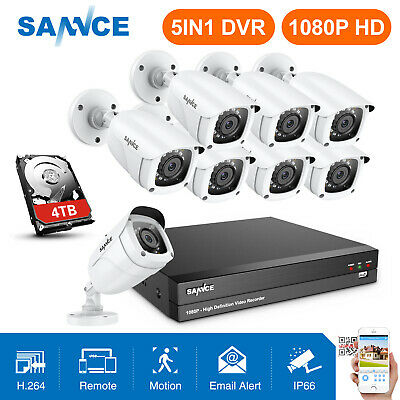 SANNCE 8CH 1080P 5in1 DVR 2M Outdoor IR Night Security Camera System Motions 2TB