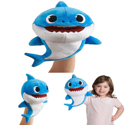 Pinkfong Baby Shark Puppet with Tempo Control Soft Plush Daddy Shark Style Blue