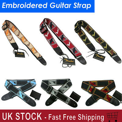 Embroidered Guitar Strap Straps for Electric Guitar Acoustic Ukulele Bass