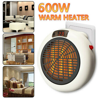 600W 220V Mini Heater UK Plug-in Electric Wall-outlet Space Handy Fast Heater UK