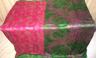 Rani Green Pure Silk 4 yard Vintage Sari Saree Pattern Patterns London UK #6E3EH