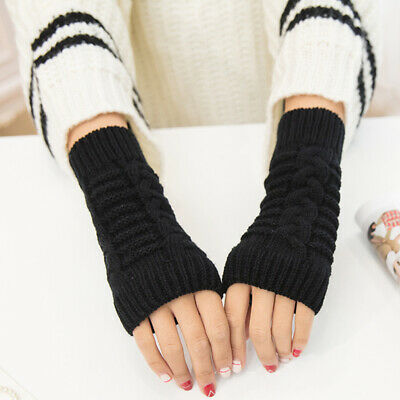 Womens Ladies Mens Thermal Knitted Fingerless Long Gloves Winter Warm Hand Mitts