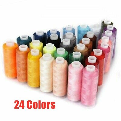 24 Colour Spools Finest Quality Sewing All Purpose 100% Pure Cotton Thread Reels