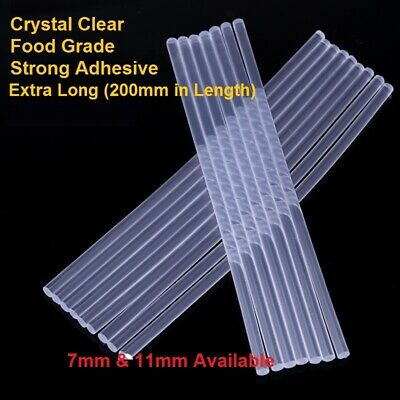 200mm EXTRA LONG Clear Hot Melt Glue Sticks No Smell Strong Adhesive 7mm & 11mm