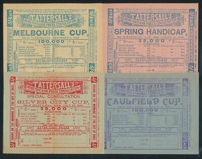 """Australia: HORSE RACING 1899 5/- Tattersall COLLN 12 SWEEPS INCL """"MELBOURNE CUP"""""""