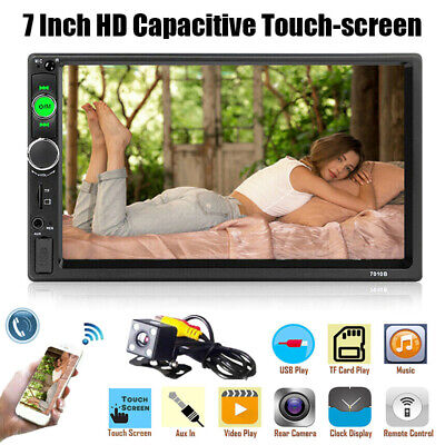 7 inch Double DIN Car MP5 Player Bluetooth Touch Screen Stereo Radio Rear Camera