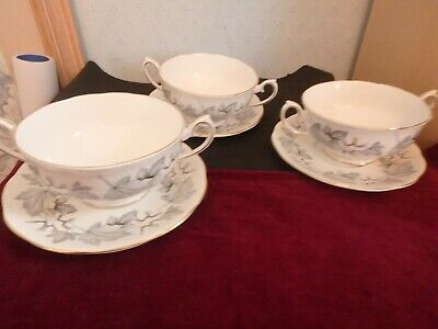 """Royal Albert English Bone China """"Silver Maple""""  3 Cereal Bowls And Saucer Stands"""